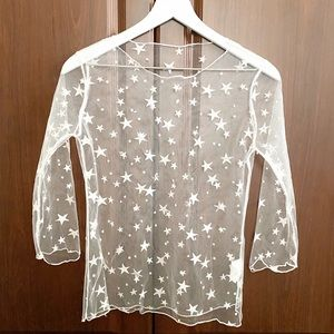 Tops - MESH TOP white star overlay sheer shirt size small